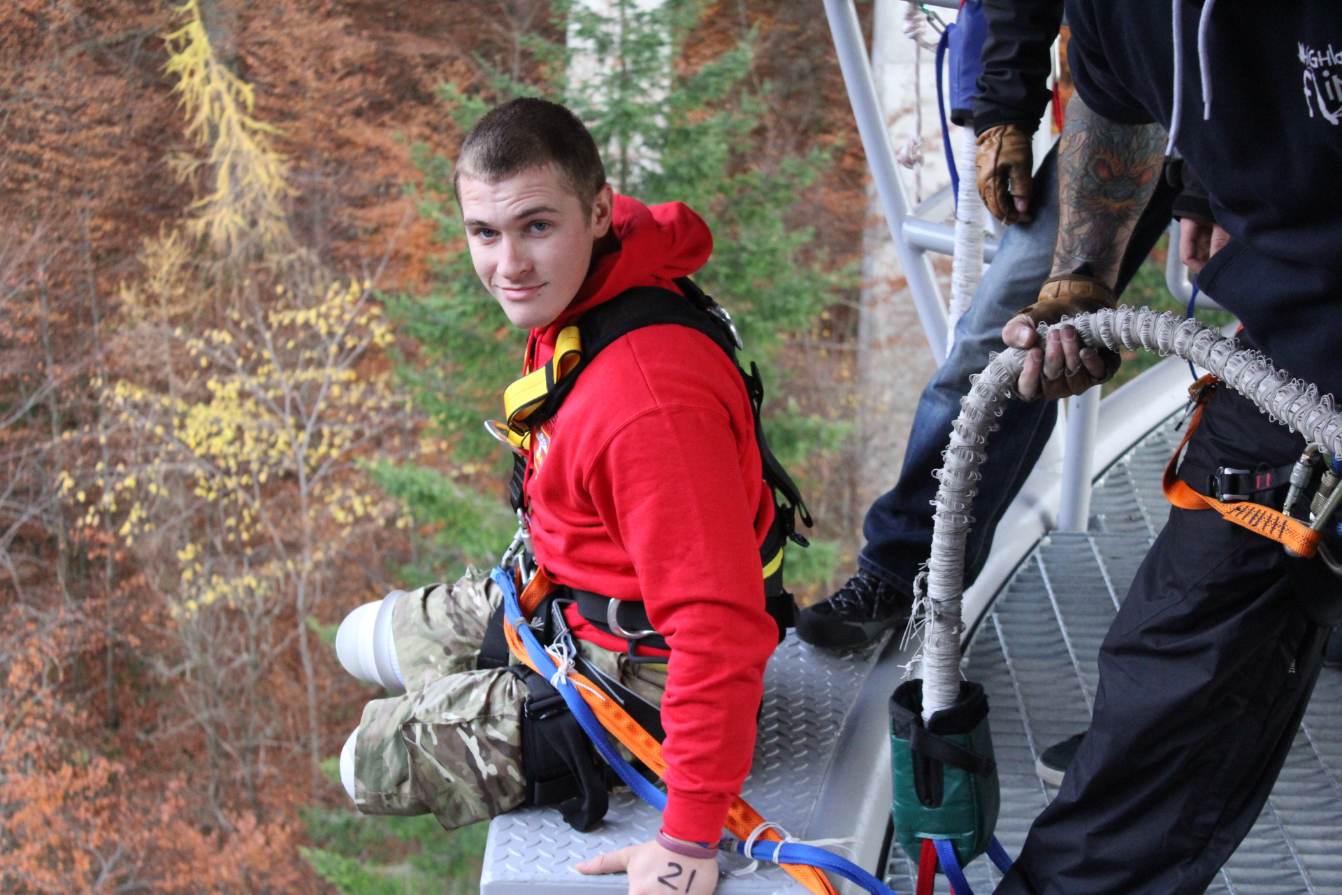 First double amputee bungee jump in Scotland