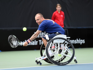 Andy Lapthorpe of Great Britain in action on Day 2 of British Open WheelchairTennis Championships in Nottingham on Wednesday, 15th of July 2015 copyright Tennis Foundation