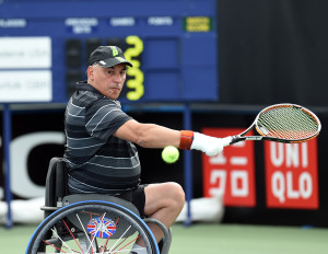 Peter Norfolk of Great Britain on Day 1 of British Open WheelchairTennis Championships in Nottingham on Tuesday, 14th of July 2015