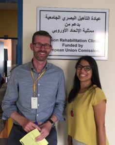 Andrew Miller, Optometry Lead at Focus Birmingham, with Liana Al-Labadi, Assistant Professor and Head of Optometry, An-Najah National University, Nablus, Palestine