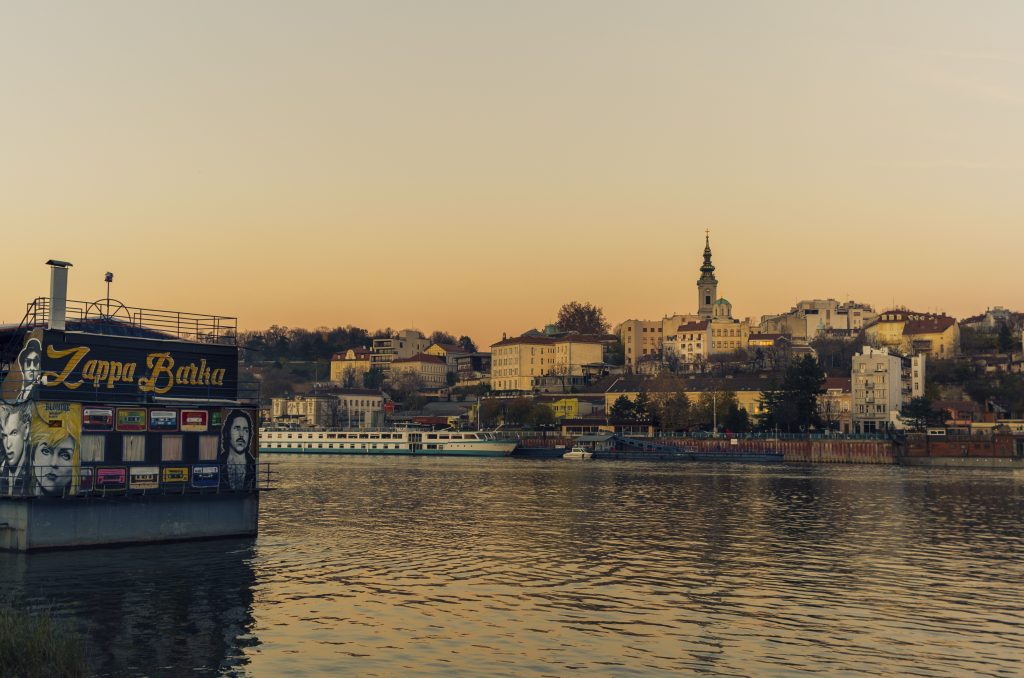 Belgrade as seen from across the river at dusk European holiday