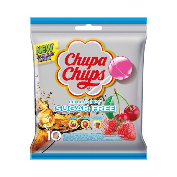 A silver packet containing 10 sugar free lollypops.