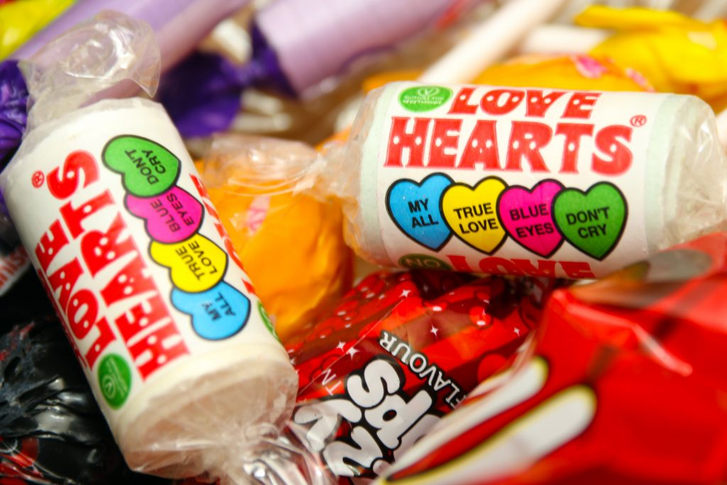 Love Hearts are given out at Halloween