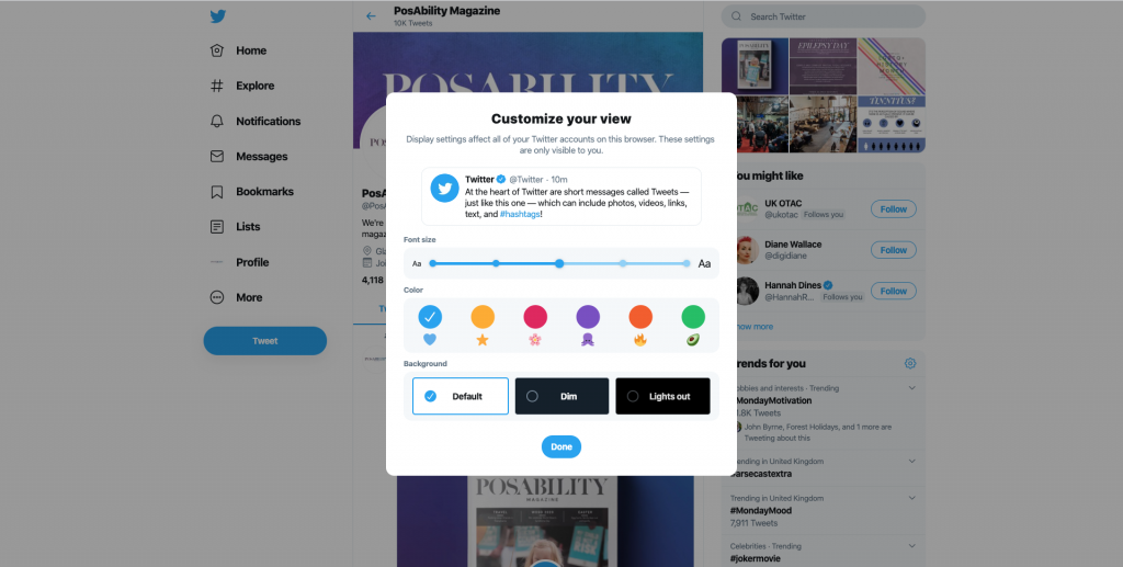 Accessibility Twitter default