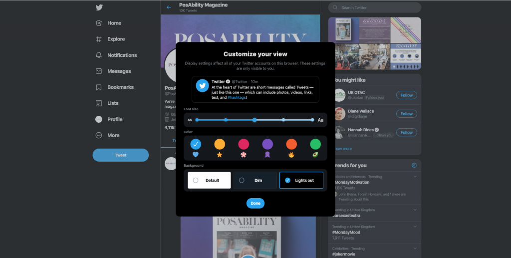 Accessibility Twitter lights out