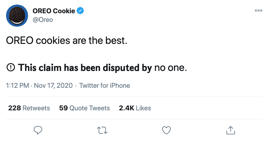 """Screenshot of @Oreo tweet. It reads: """"OREO cookies are the best."""" In text that is unable to be read by some screen readers, they have added: """"This claim has been disputed by no one."""""""