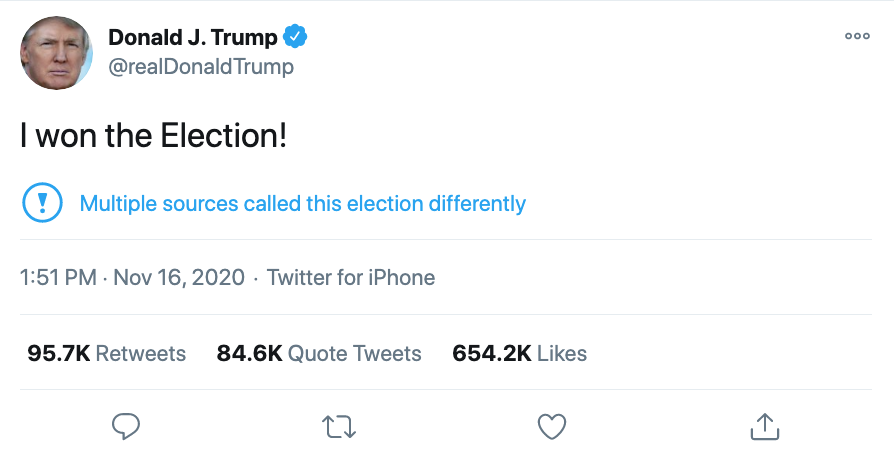 """Screenshot of @RealDonaldTrump tweet. It reads: """"I won the Election!"""" Twitter has added a citation underneath; it has an exclamation mark in a circle, and reads: """"Multiple sources called this election differently"""""""