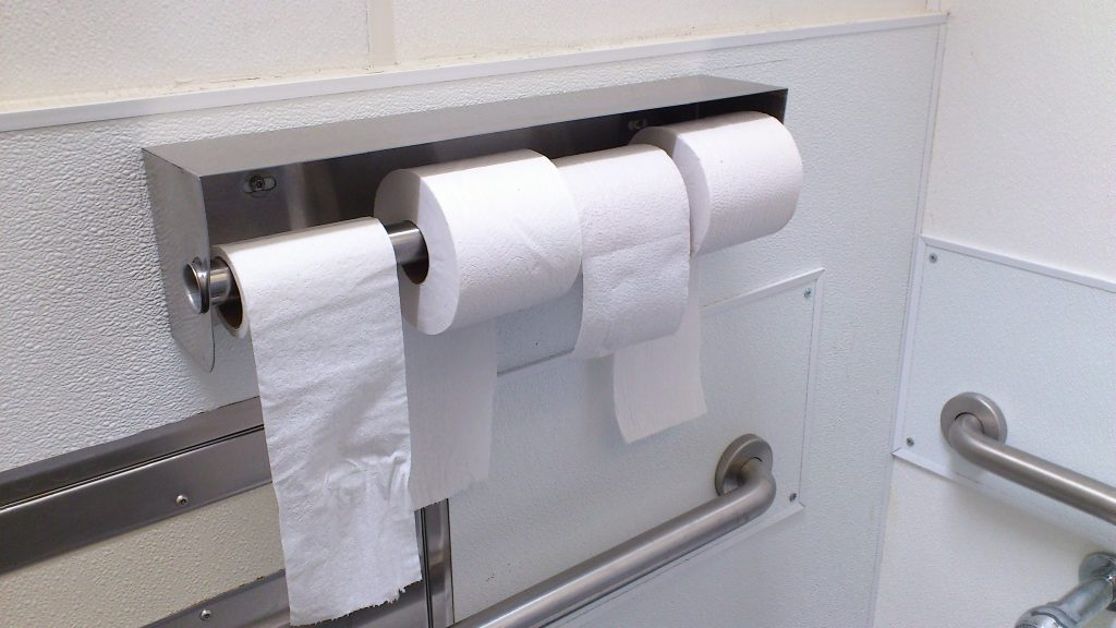 Multiple toilet rolls in a bathroom, a symbol of tremendous wealth in the dystopia of 2020