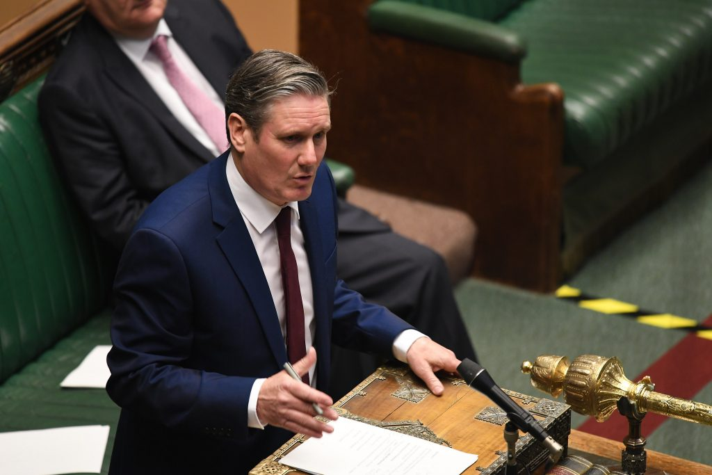 Labour Leader Keir Starmer speaking in the Houses of Parliament